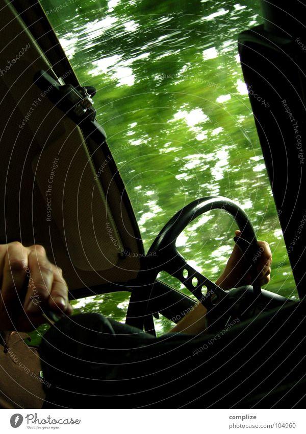 Man Hand Green Tree Joy Leaf Window Car Transport Speed Driving Conduct Curve Seventies Road traffic Forwards