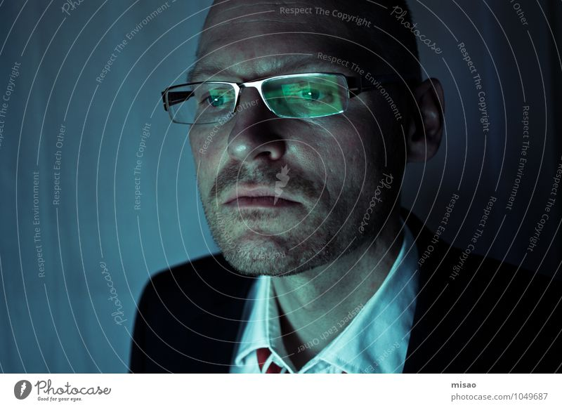 Human being Man Blue Loneliness Black Dark Cold Adults Masculine Business Office Computer Observe Telecommunications Eyeglasses Internet