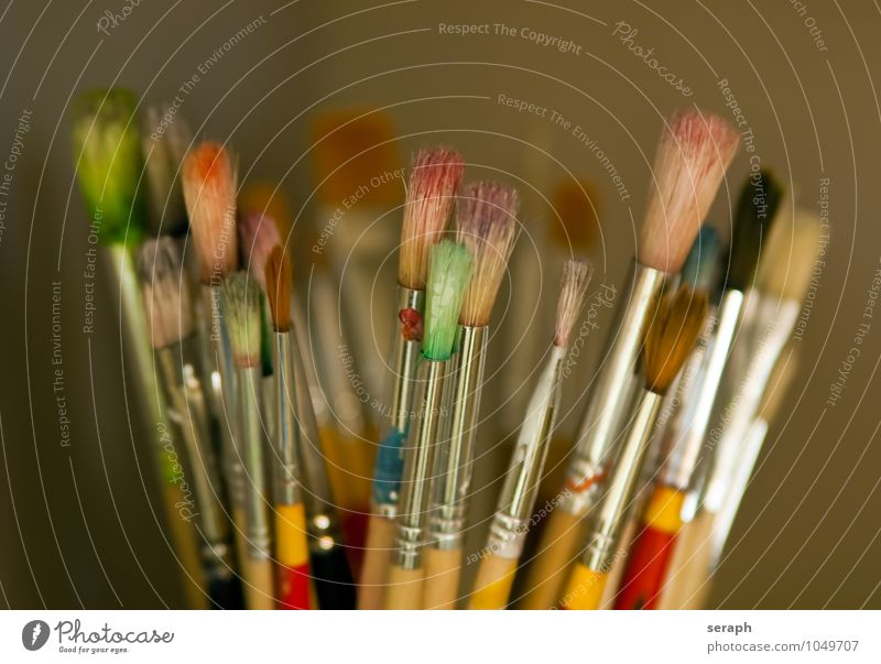 Brushes Colour Paints and varnish Draw Image Multicoloured Collection Supply Art Creativity Object photography Acrylic Bristles Tool Handicraft Artist Painter