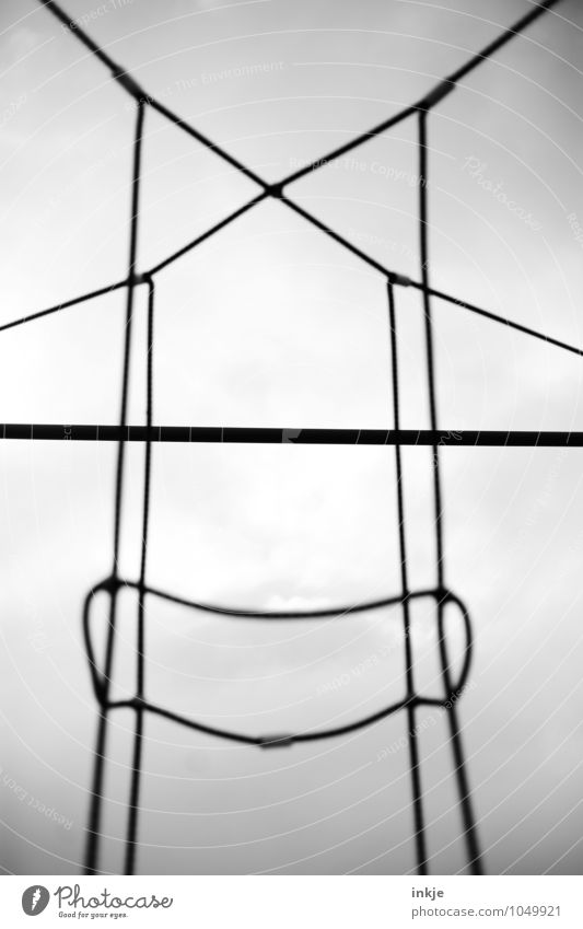 giant macramé Deserted Rope Crucifix Line Knot Net Network Loop Exceptional Threat Large Above Gloomy Gray Black Attachment Bright background Tense