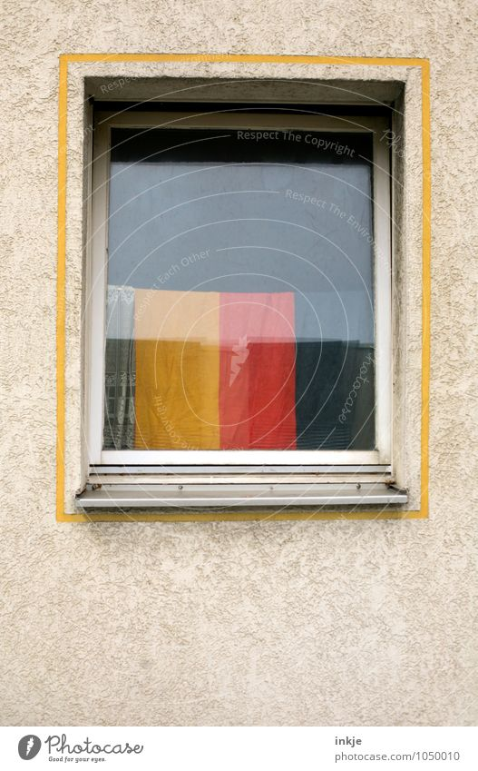 German cosiness Lifestyle Style Living or residing Flat (apartment) Decoration Deserted Facade Window Curtain German Flag Frame Sign Stripe Hang Gold Red Black