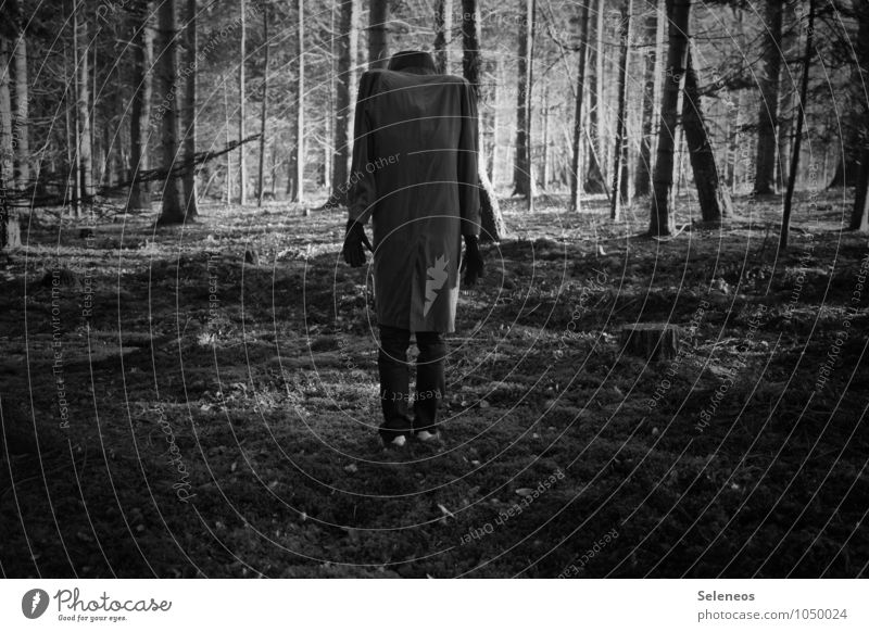 headless Human being Masculine Man Adults 1 Environment Nature Forest Jacket Coat Large Creepy Headless Black & white photo Exterior shot Light Shadow Contrast