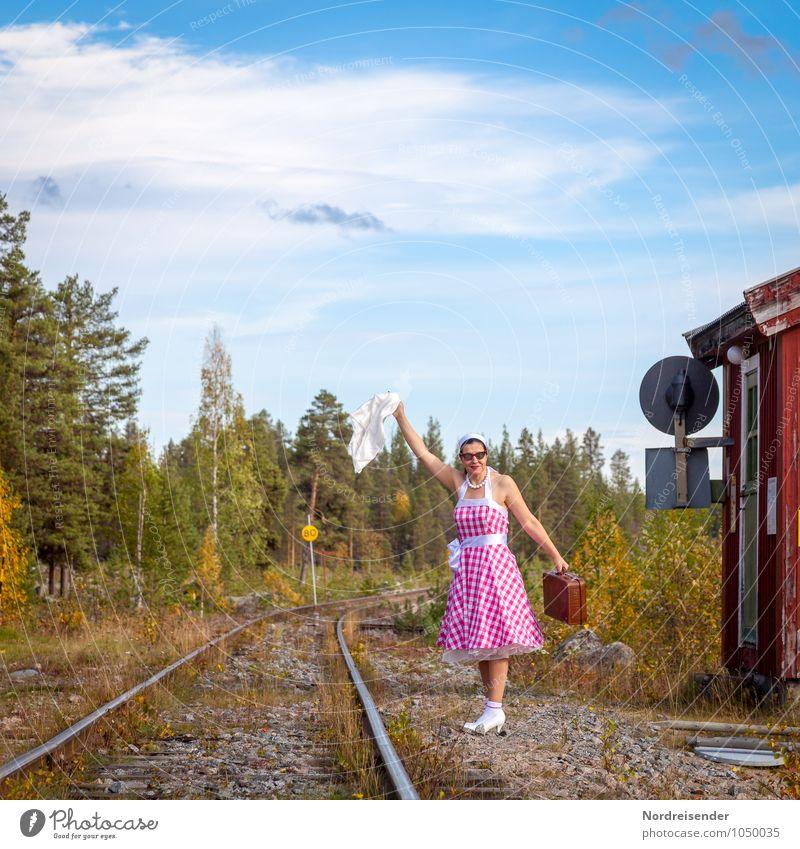 demand stop Lifestyle Vacation & Travel Far-off places Human being Feminine Woman Adults Transport Rail transport Train station Platform Railroad tracks Dress