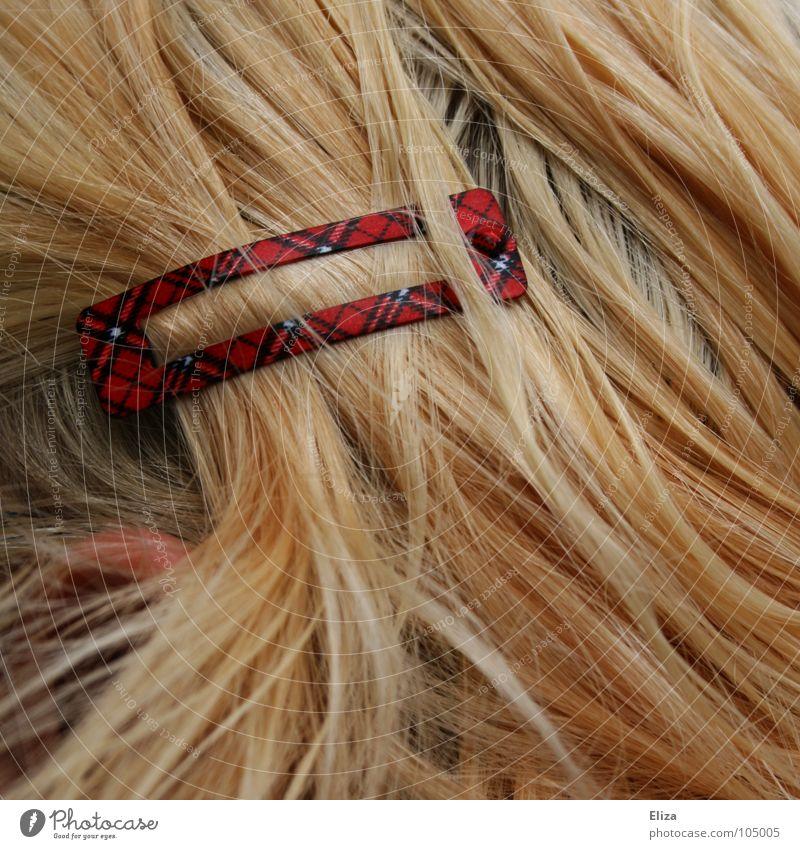 blonde hair with a hair clip in tartan pattern hairstyle Brooch Stewart tartan Pattern Checkered Scotland Hair accessories Human being Blonde Hair barrette