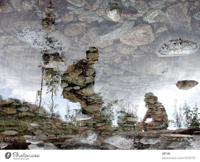 the rest. Break Brook Reflection Mirror Mirror image Slovakia Tatra Hiking Calm Fatigue Exterior shot Bizarre Crazy Strange Rotated False River Water Stone