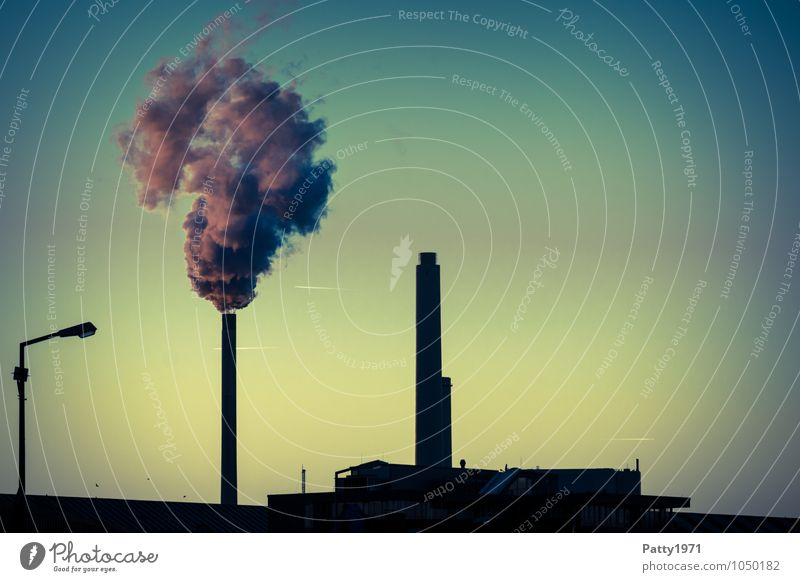 Smoking industrial chimney and combined heat and power plant at dusk Energy industry Coal power station Industry CO2 emission Emission Exhaust gas