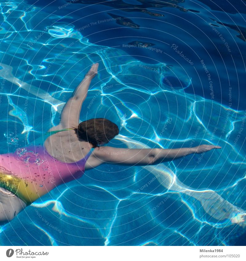 Woman Water Blue Summer Vacation & Travel Sports Playing Swimming pool Dive Swimming & Bathing Rainbow Go under Aquatics Basin Swimsuit