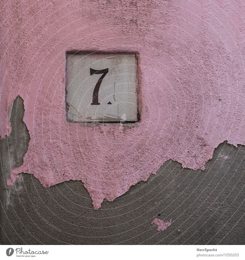 Old House (Residential Structure) Wall (building) Dye Building Wall (barrier) Gray Stone Pink Facade Italy Digits and numbers Manmade structures