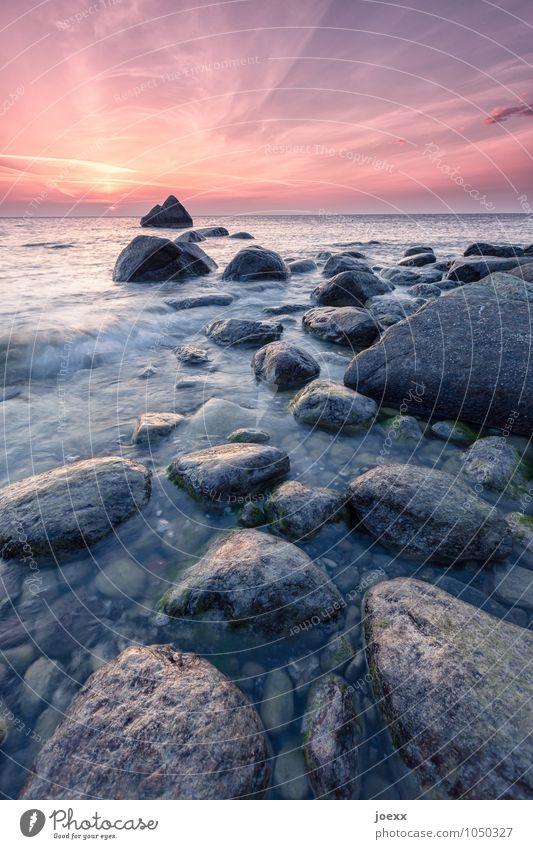 Because it was always there. Landscape Sky Sunrise Sunset Summer Beautiful weather Rock Waves Coast Blue Gray Orange Red Calm Freedom Horizon Idyll stones