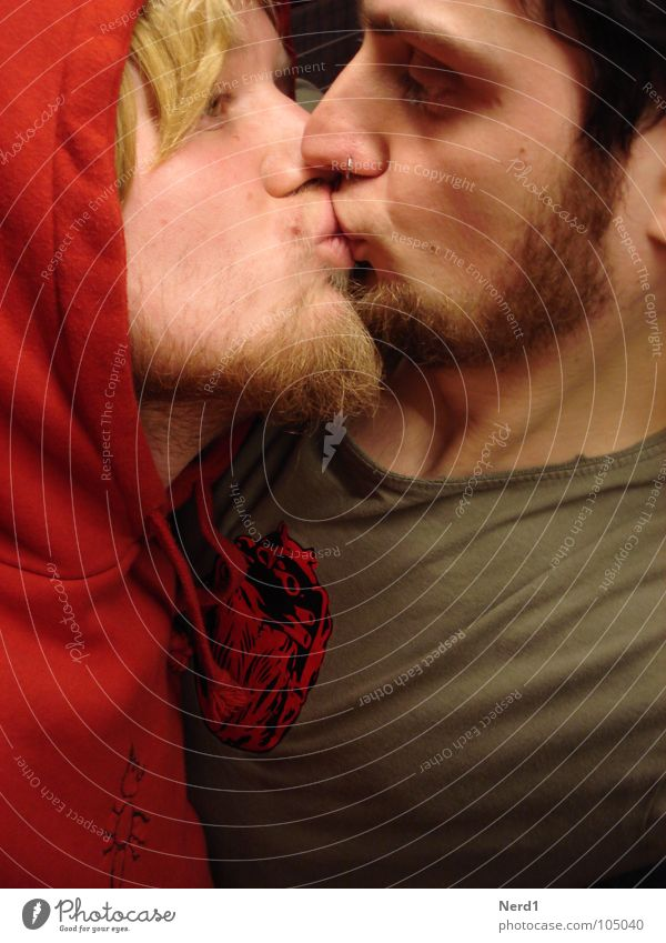Look at me Homosexual Kissing Red Man Love Interior shot Portrait photograph Double portrait Face of a man Caresses Hooded sweater Hooded (clothing)