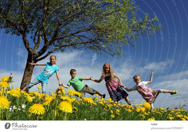 spring Joy Happy Human being Child Infancy 4 3 - 8 years Environment Nature Landscape Spring Beautiful weather Flower Grass Meadow Happiness Spring fever