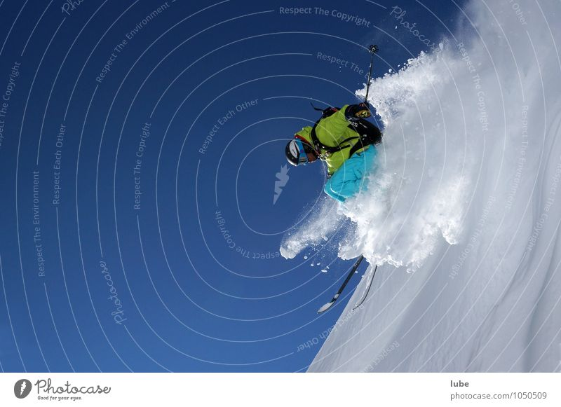 Human being Nature Blue White Joy Winter Mountain Snow Sports Jump Action Fitness Alps Cloudless sky Brave Skis