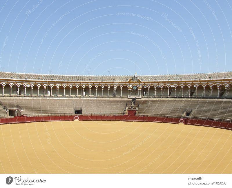 Blue Red Summer Yellow Sand Europe Round Monument Landmark Spain Seating Bull Arena Andalucia Seville Bullfighter