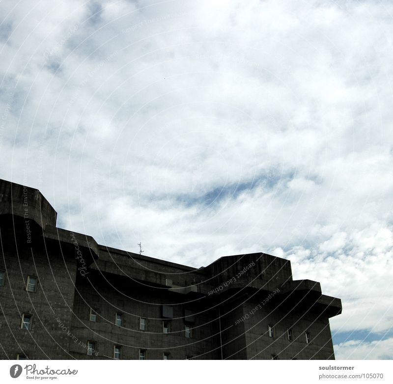 Sky White Blue Clouds Gray Wall (barrier) Concrete Hamburg Protection Fat Steel Monument War Landmark Attack Armor-plated