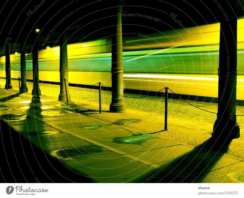 Green Yellow Street Lanes & trails Railroad Speed Bridge Driving Dresden Train station Cobblestones Column Pedestrian Puddle Rod Tram