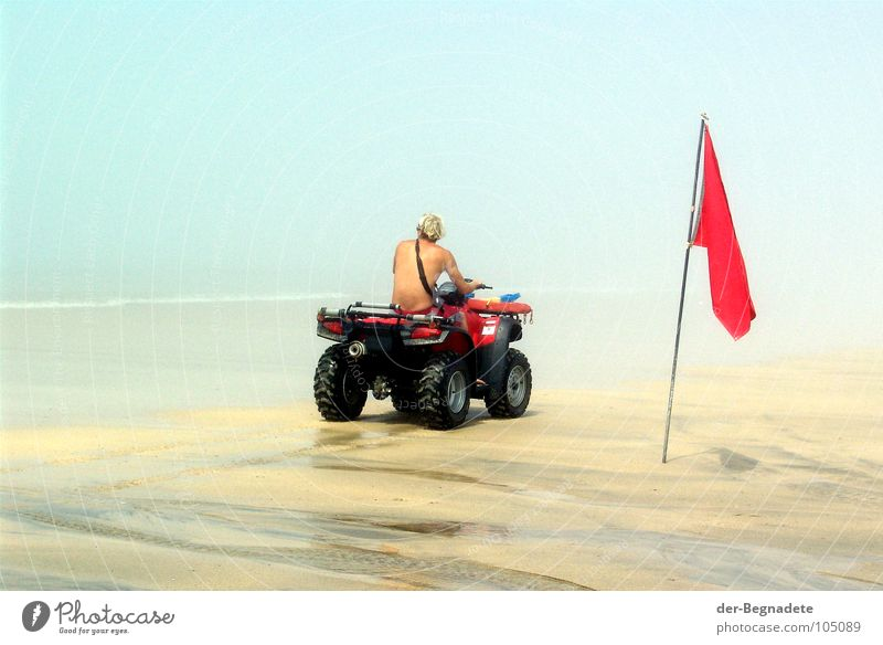 Man Ocean Red Summer Joy Beach Sand Blonde Adults Fog Back Help Safety Flag Swimming & Bathing Turquoise