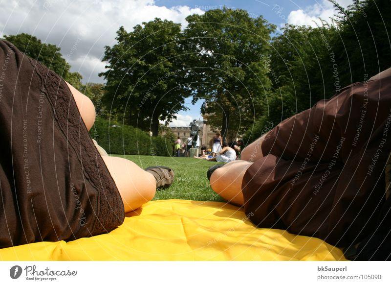 die gelbe pelerine Picnic Relaxation Playing Vacation & Travel Trip Human being Legs Sky Tree Grass Park Pants Footwear Lie Sleep Brown Yellow Fatigue Paris