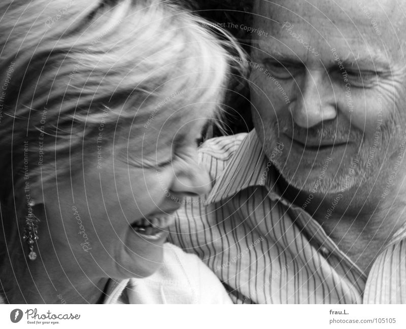couple Man Woman Wedding couple Amused Joy 50 plus Laugh lines Facial hair Anticipation Love Couple Laughter Wrinkles Earring engaged late love Happy Lovers
