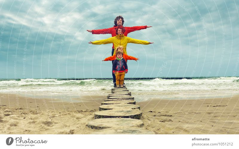 Human being Child Water Ocean Beach Adults Life Happy Laughter Freedom Sand Together Family & Relations Waves Infancy Stand