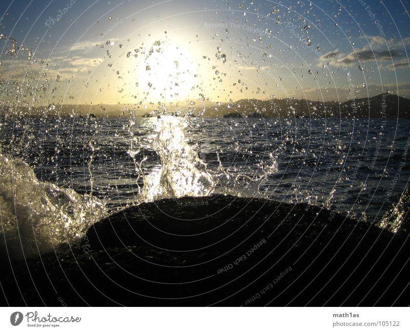 Water Sky Sun Ocean Summer Beach Stone Waves Coast Rock Spill over Cote d'Azur St.Tropez