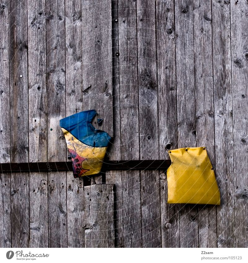 Blue Yellow Above Wood 2 Door Closed Simple Farm Things Castle Gate Under Plastic Leather Wooden board