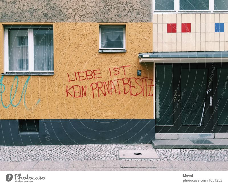City Blue Red House (Residential Structure) Window Wall (building) Sadness Graffiti Emotions Love Building Wall (barrier) Berlin Moody Germany Facade