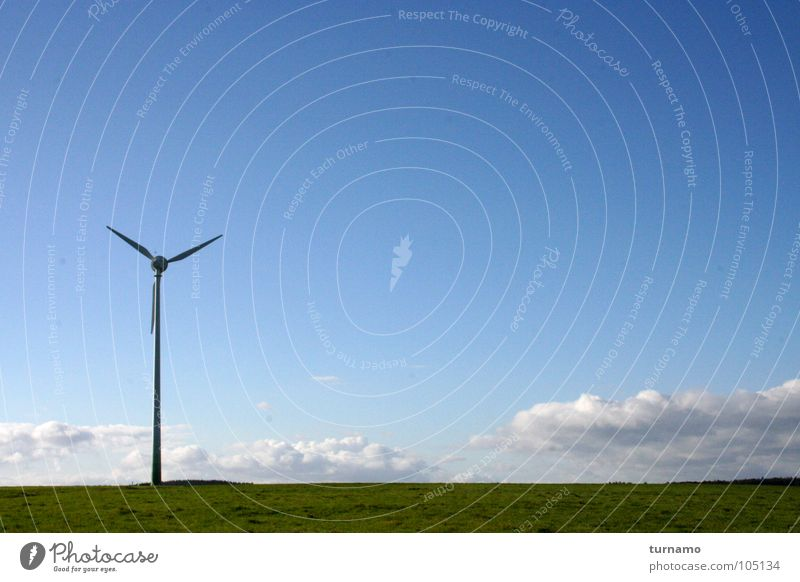 Stable Blue Sky Landscape Land Feature Wind energy plant Clouds Electricity Air Nature Industry Community service wind tower view into the distance