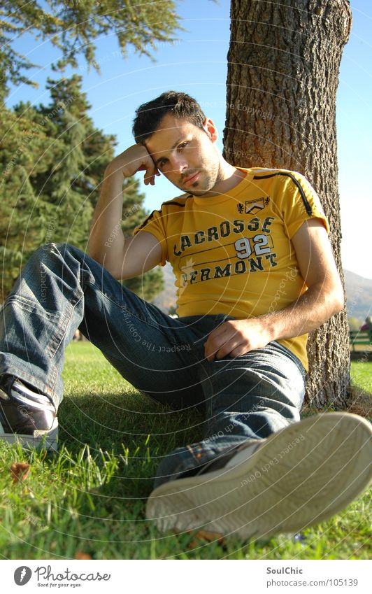 sunny boy Man Masculine Relaxation Think Meadow Green Physics Tree Cozy Cool (slang) Worm's-eye view Exterior shot Portrait photograph Happy chilly Contentment