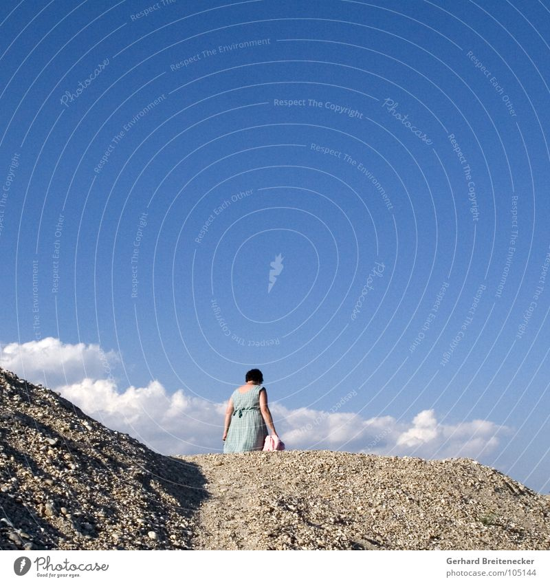 Woman Sky Summer Clouds Mountain Stone Going Dress Hill Gravel Turn back