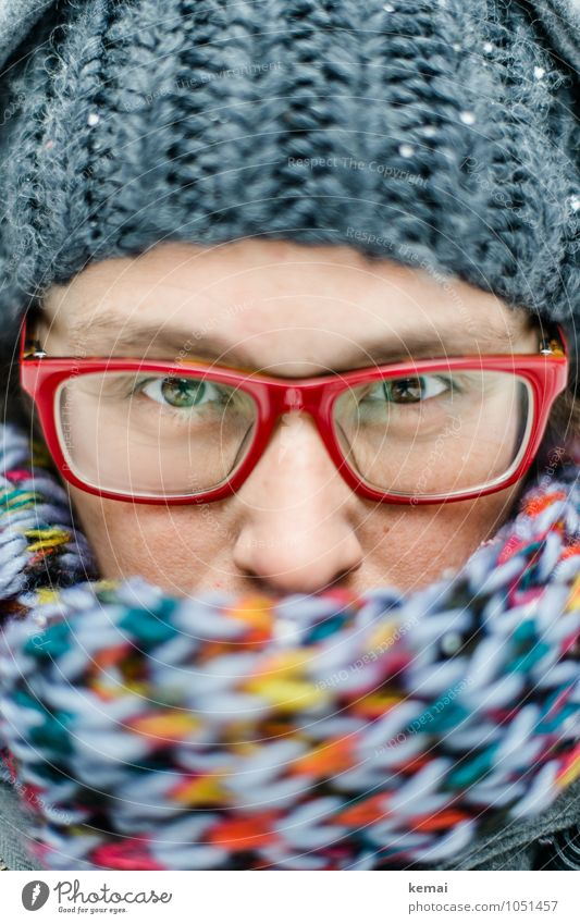 Human being Woman Red Winter Adults Eyes Warmth Life Snow Feminine Style Gray Lifestyle Ice Clothing Eyeglasses