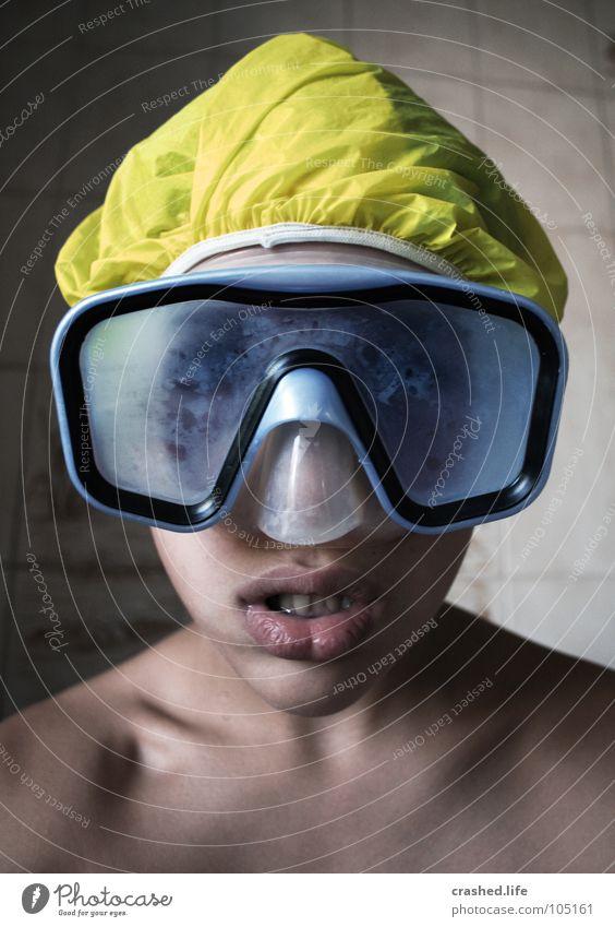 Diving Station Bathroom Diver Diving goggles Yellow Lips Colour Aquatics Blue pixelroxx