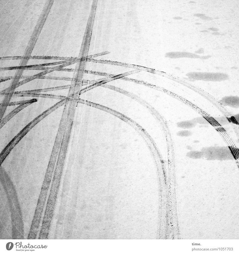 forget something Winter Snow Transport Traffic infrastructure Passenger traffic Motoring Street Lanes & trails Turn back Skid marks Asphalt Stone Line Curve