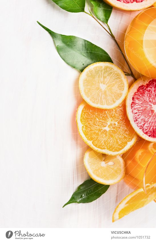 Citrus fruits cut into slices Food Fruit Orange Nutrition Breakfast Organic produce Vegetarian diet Diet Lemonade Juice Glass Style Design Healthy Eating