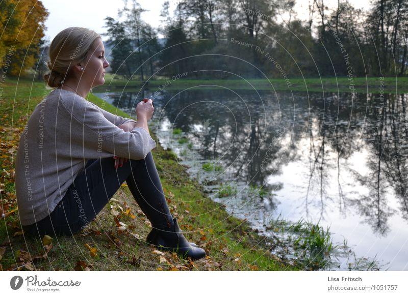 silent Feminine Boy (child) Woman Adults Life 1 Human being Nature Autumn Tree Pond Lake Breathe Fragrance To enjoy Smoking Dream Esthetic Blonde Happy
