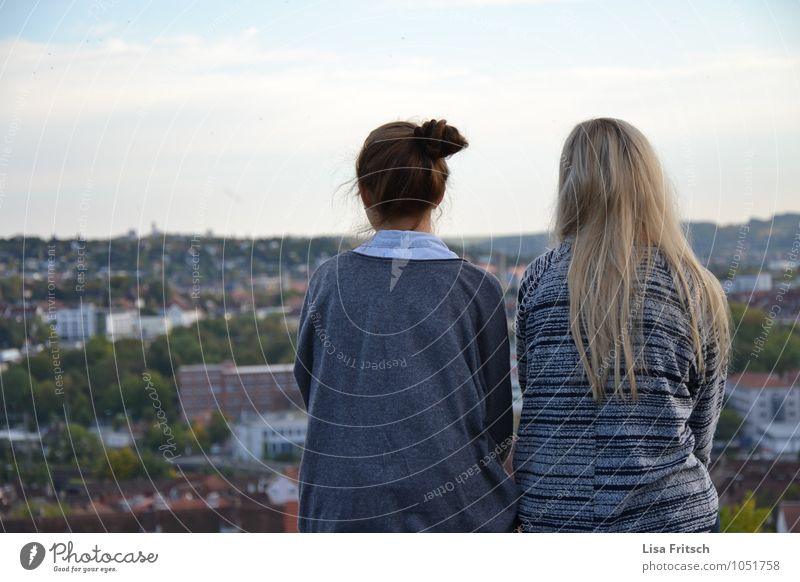 in twos you are less alone Feminine Boy (child) Friendship Youth (Young adults) Adults 2 Human being 18 - 30 years Würzburg Town Brunette Blonde Long-haired