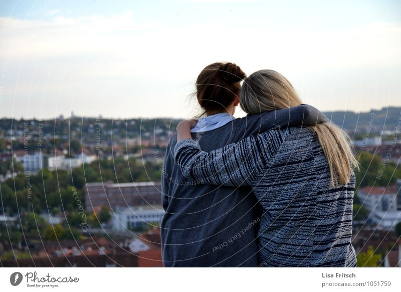 friendship Feminine Young woman Youth (Young adults) Friendship Adults 2 Human being 18 - 30 years Sky Würzburg Town Outskirts To enjoy Love Embrace Natural
