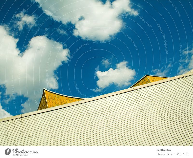 Sky Summer Clouds Wall (building) Architecture Facade Modern Culture Point Concert Swing Berlin Philharmonic Berlin culture forum