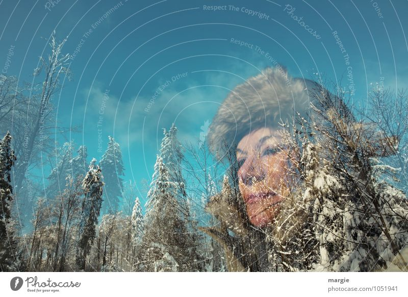 Human being Woman Sky Vacation & Travel Youth (Young adults) Blue Young woman Tree Calm Winter Forest Cold Adults Movement Snow Feminine