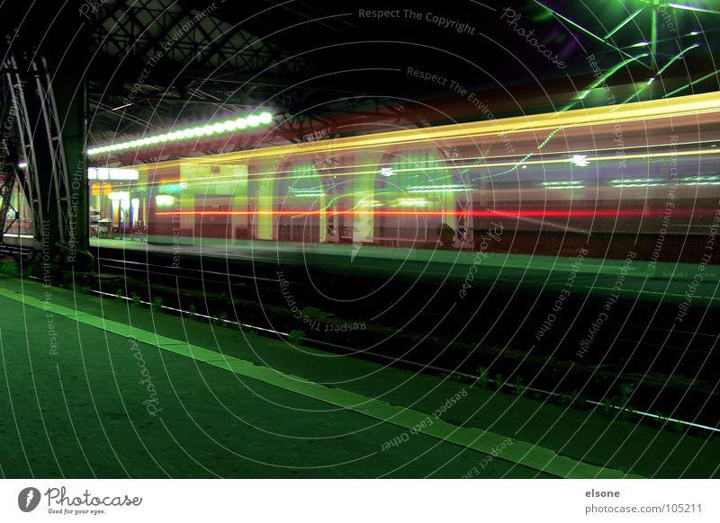 night train to... Night Dark Light Long exposure Railroad Engines Lamp Red Green Black Yellow Driving Movement Speed Slowly Highway ramp (entrance) Line
