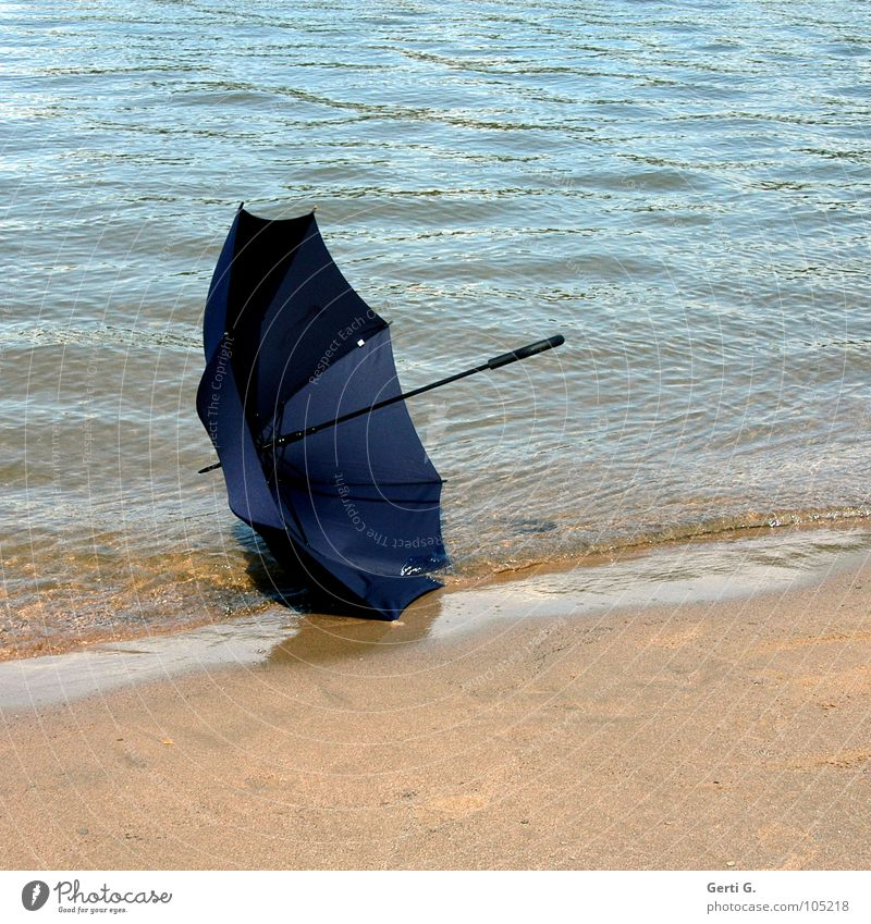 He's gone Umbrella Summer Beach Sandy beach Rhine Summery Lose Doomed Gust of wind Waves Surface of water Blue Cloth Material Things Protection Water River