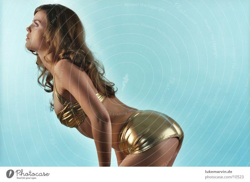 angels? Model Woman Brunette Blonde Bikini Underwear Curl Gold Eroticism