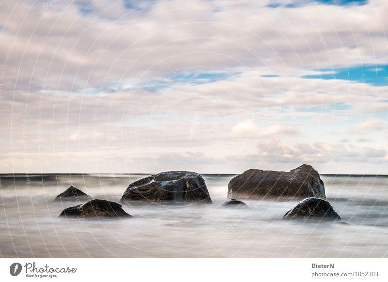 order Landscape Water Sky Clouds Waves Coast Baltic Sea Blue Black White Mecklenburg-Western Pomerania Rügen Stone Rock Horizon Long exposure Colour photo