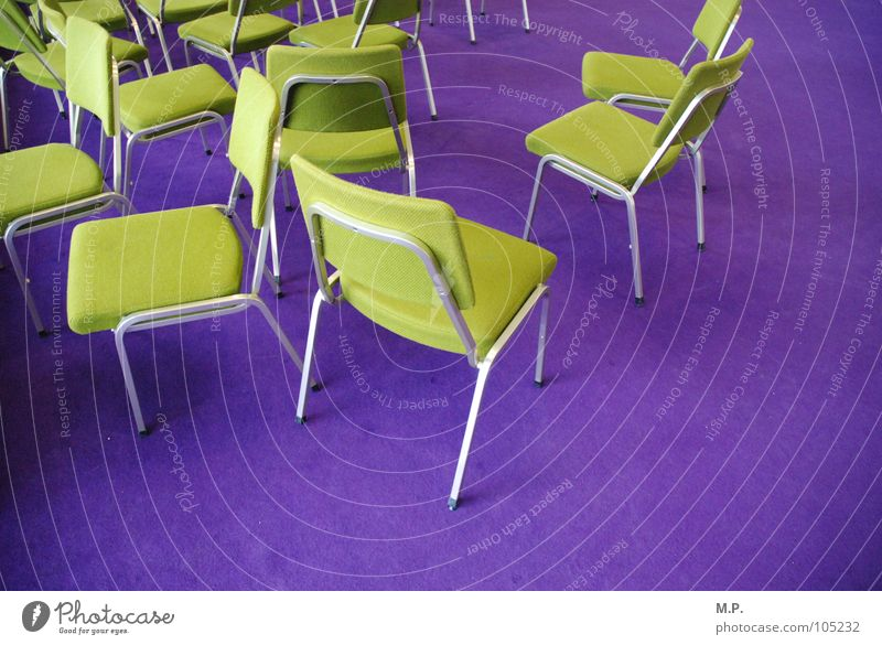 Chair company 1 Carpet Green Bright green Violet Gaudy Colour Multicoloured Muddled Chaos Contrast Visitor Guest Sit Stand Comfortable Invite Bolster Meeting