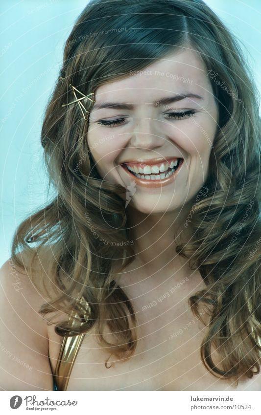 please smile Woman Model Brunette Blonde Bikini Underwear Laughter Curl Gold lukemarvin
