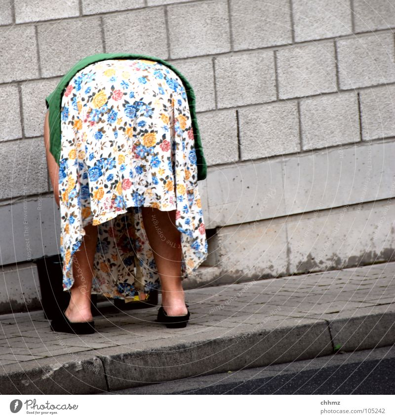 Woman Flower Senior citizen Concrete Hind quarters Sidewalk Parents Old fashioned Vest Calf Slippers Smock Apron Shuffle Cardigan