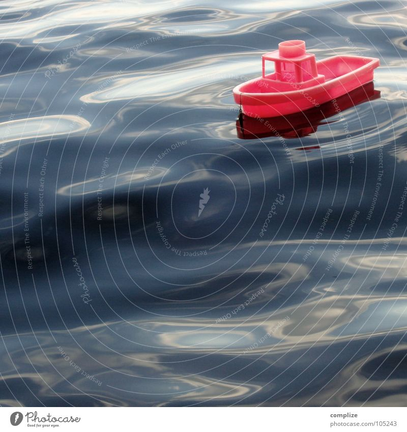 distressed at sea Watercraft Toys Waves Lake Ocean Reflection Pink Ferry Playing Red Swell Surf Style Minimal Soul Captain Lifeless On board Children's room