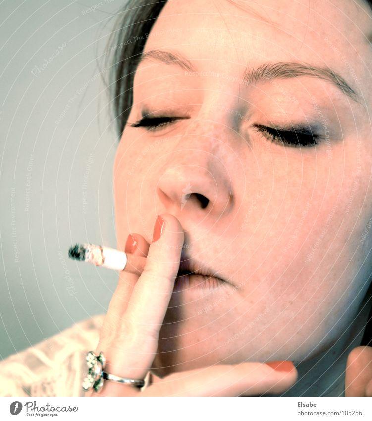 Woman Beautiful Face Feminine Smoking Smoke Cigarette Eyelash Nail polish