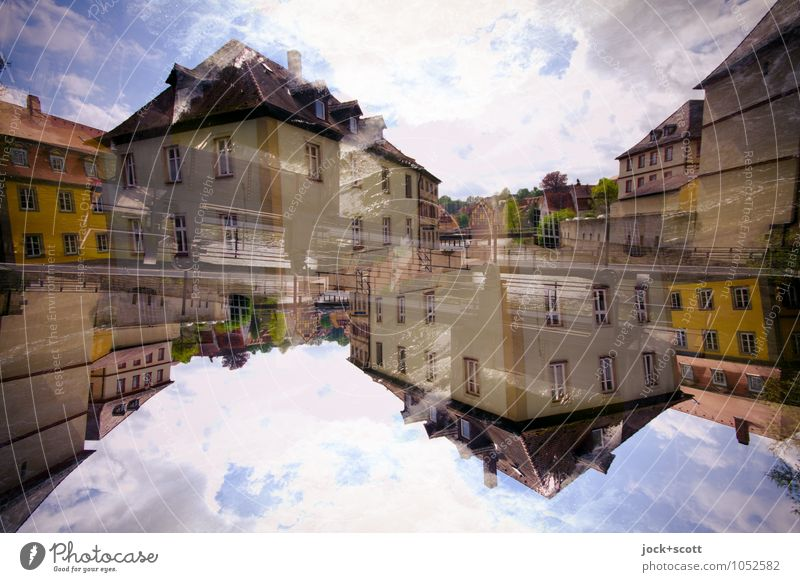 Headstand vs. household Clouds Climate change Bamberg Old town House (Residential Structure) Facade Exceptional Fantastic Agreed Perturbed Complex Whimsical