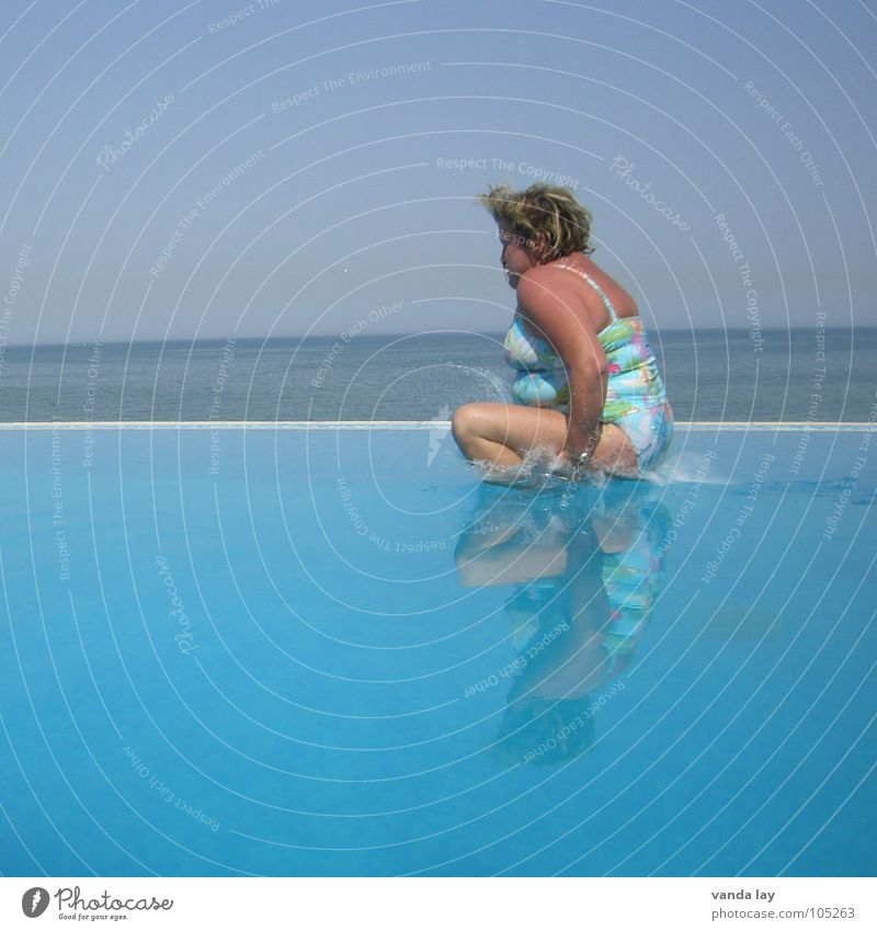 Woman Human being Water Old Sky Ocean Blue Summer Joy Beach Vacation & Travel Relaxation Jump Freedom Coast Blonde