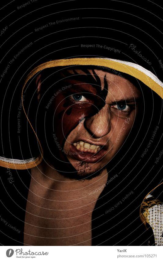 Man Red Black Face Eyes Yellow Dark Dangerous Teeth Mask Anger Jacket Make-up Evil Loudspeaker Fight